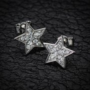 Silver Star Multi Jewelled Stud Earrings