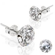 14ct White Gold Cubic Zirconia Round Stud Earrings
