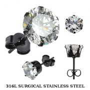 Black Surgical Steel Cubic Zircionia Studs
