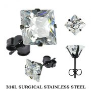 Black Surgical Steel Cubic Zircionia Square Studs