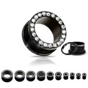 Jewelled Black Screw Fit Flesh Tunnels