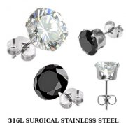 Cubic Zirconia & Steel Ear Studs