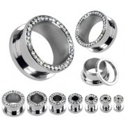 Clear Jewelled Screw Fit Flesh Tunnels