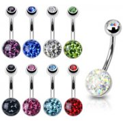 Smooth jewelled Austrian Crystal Belly Bar