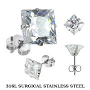 Stainless Steel Square Cut Cubic Zirconia Ear Studs