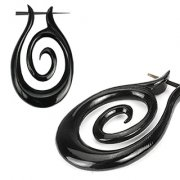 Pair Of Organic Hand Carved Tribal Stirrup Earrings