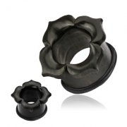Hand Carved Ebony Wood Petal Top Hat Ear Tunnel
