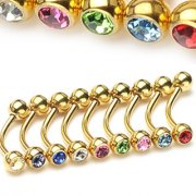 Gold Plated Gem Micro Barbell