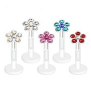 Jewellled Daisy Flower Labret Stud