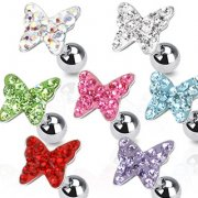 Tragus/Cartilage Barbell with multi jewelled Butterfly