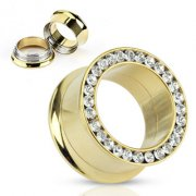Gold Plated Screw Fit Flesh Tunnel with Clear Cubic Zirconia Crystal Rim
