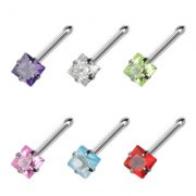 Jewelled Square Nose Stud Bone