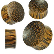 Organic Palm Wood Double Sided Convex/Concave Saddle Plug