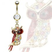 Gold Plated Multi Coloured Jewelled Owl Belly Bar