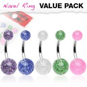 5pc Pack of Surgical Steel Belly Bars with Ultra Glitter Balls