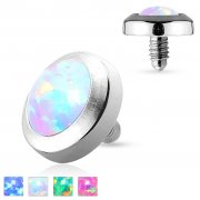Opal & Surgical Steel Flat Dermal Anchor Disc Top
