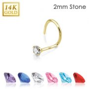 14ct Solid Yellow Gold 2mm Prong Set cubic Zirconia Nose Stud