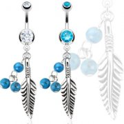 Indian Feather & Turquoise Belly Bar