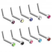 Press Fit Gem 316L Surgical Steel L Bend Nose Stud