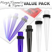 4 Pcs Value Pack of Large Sized Acrylic Stretching Taper Kit with O-Rings