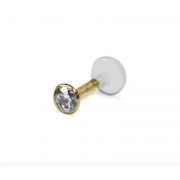 3.1mm (10pt) Diamond and Solid Gold Push-In Bioflex Labret Stud