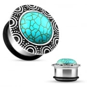 Turquoise Brass Single Flared Plug with O-Ring