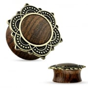 Natural Rose Wood Saddle Plug with Tribal Lotus Top