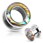 Mother of Pearl Rimmed Screw Fit Tunnel