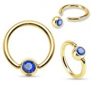 8mm Gold plated Ball Closure Ring with clear/blue/rainbow gem.