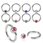 Jewelled Ball Closure Ring-Surgical Steel