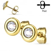 Clear crystal set gold plated disc earrings