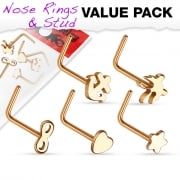 Value pack of 5 rose gold surgical steel L bend nose studs