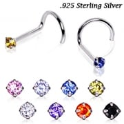 Sterling Silver Prong Set Round Gem Nose Stud Screw.