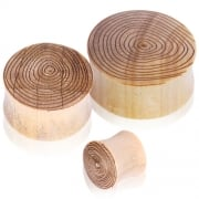 Crocodile Wood Saddle Plugs with Engraved Ring Grain Motif