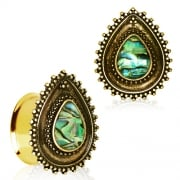 Gold Plated Ornate Teardrop Flesh Plug with Abalone Shell Inlay