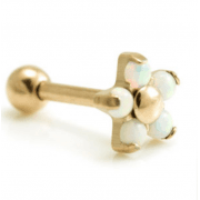 Rose Gold Coated Titanium Internal Thread Opal Flower Micro Barbell