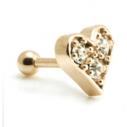 Rose Gold Clear Gem Heart Micro Barbell