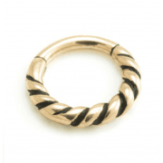 Rose Gold plated on 316L Surgical Steel Twisted Hinged Segement Ring