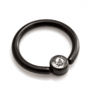 Black coated Surgical Steel Ring with Flat Clear Gem Disk