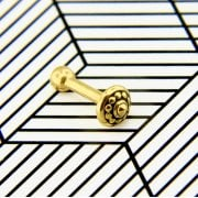 24ct Yellow Gold Coated 316L Steel Internal Ethnic Micro Barbell