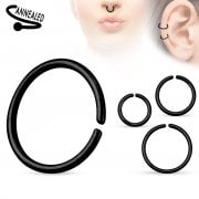 Black Seamless Surgical Steel Ring 0.8mm