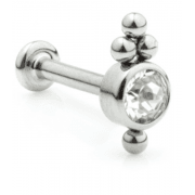 Titanium Couture Internally Threaded Gem Labret Cluster