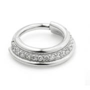Steel Hinged Clear Jewelled Clicker Ring