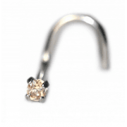 Champagne Prong Set Nostril Screw Titanium