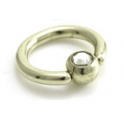 PVD Zircon Gold Titanium Ball Closure Ring with Clear Gem Ball