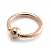 PVD Rose Gold Titanium Ball Closure Ring Plain Ball
