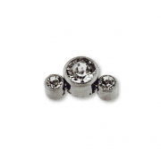 1.2mm Titanium Triple Clear Gem Arc Attachment Internally Threaded